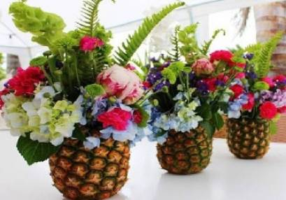 flowers in baskets