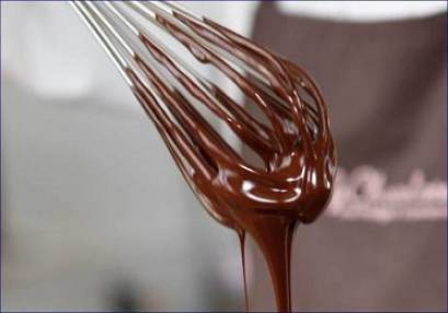 chocolate dripping from a whisk