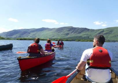 Family Day out Exploring Lake Bala, North Wales in Canoe or Kayak