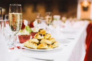 scones and champagne on a table