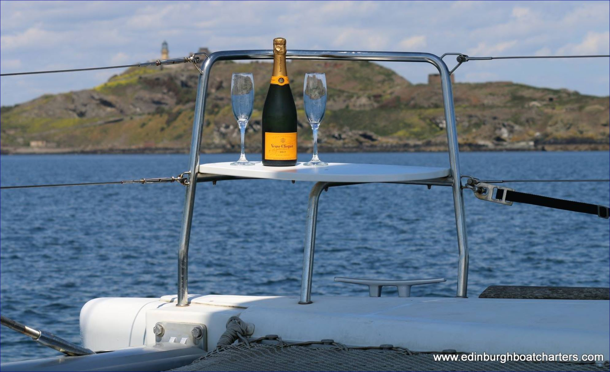 champagne and glasses on a boat