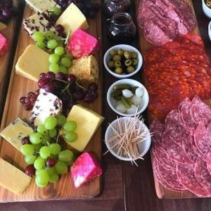 meats and cheese on a table
