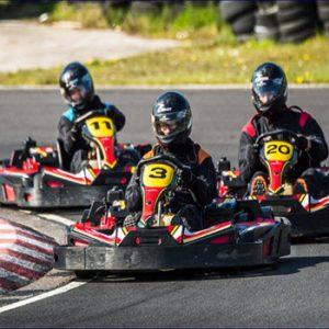 go karts on racing track