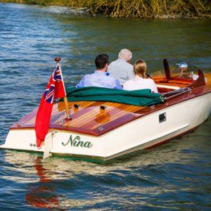 Vintage speedboat on the water