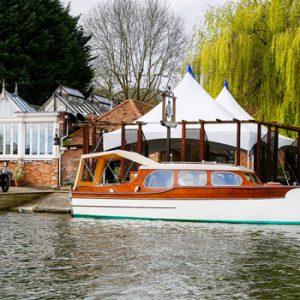 vintage boat on river