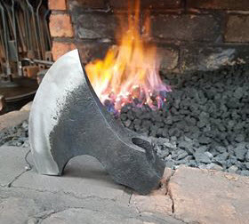 axe being made in the fire