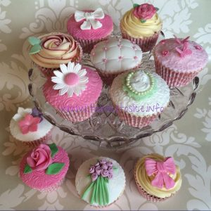 cup cakes on a glass dish