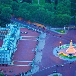 Aerial view of Buckingham Palace at night