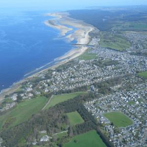 aerial view of scottish coastline