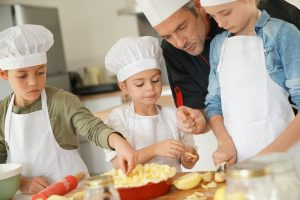 kids at a cooking class