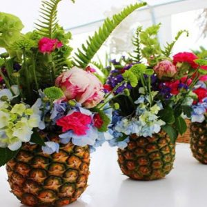 flowers in a pineapple