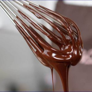 chocolate on a whisk