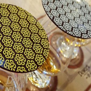 whisky glasses with chocolate on top