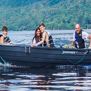 people on a boat on Loch Lomond