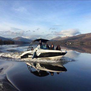speed boat on Loch Lomond