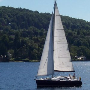 boat sailing on lake Windermere