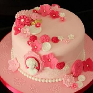 pink floral birthday cake