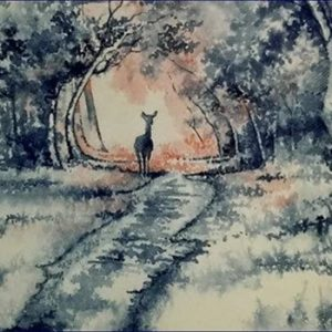 watercolour painting or deer in forest