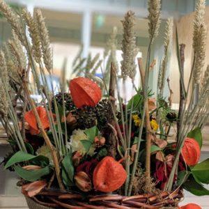 orange flowers in basket
