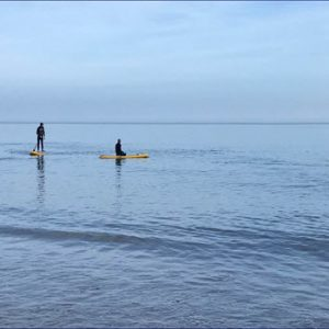 people paddle boarding in sea