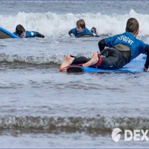children learning to surf in scarborough