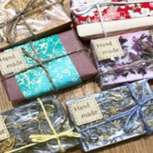 hand made soap wrapped in string