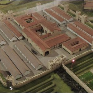 Model aerial view of Hadrian's wall museum