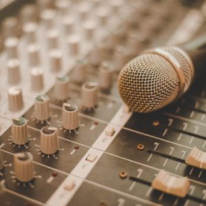 mixing desk and microphone