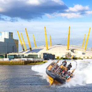 Boat on thames in front of O2