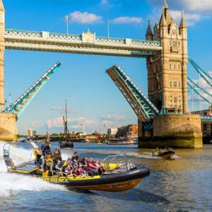 boat on thames under London Bridge