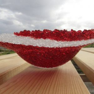 fused glass art red bowl