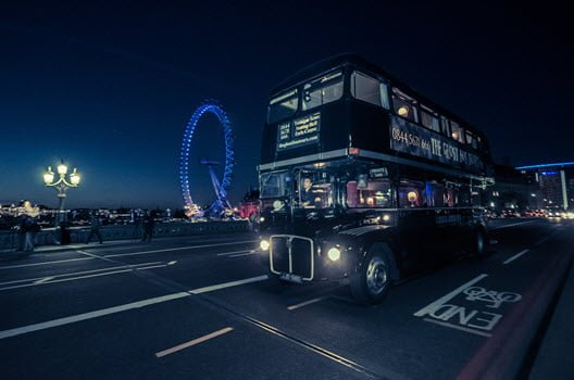 Ghost Bus Tour bus and London Eye