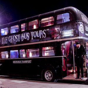 York Ghost Bus Tours Bus at night