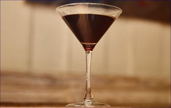 chocolate cocktail in a martini glass