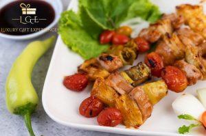 skewered pork kebabs