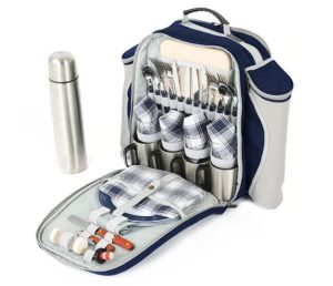 Navy picnic rucksack for two and flask and wine holder