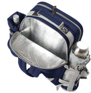 insulated navy picnic rucksack for two with flask