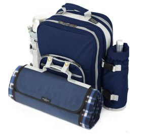 picnic navy rucksack for two people and mat