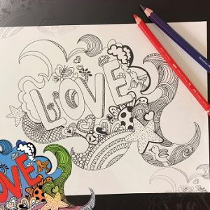 love on white paper pencils