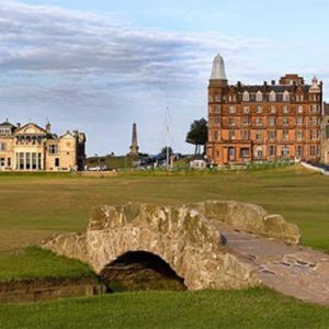 looking at Old Course Club house and Sta Andrews from the famous bridge