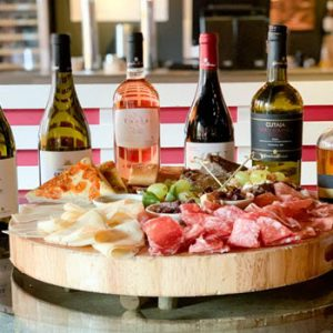italian food platter 4 bottles wine