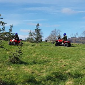 red quad bikes on countryside