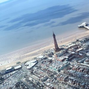 Aerial view of Blackpool across to the Blackpool Tower