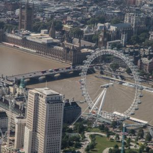 aerial view of the London Eye with River thames and house of Parliament in background