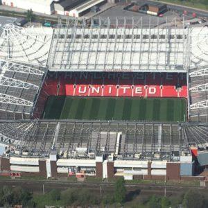 aerial view manchester united football stadium