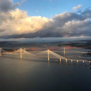 aerial view of the three bridges in Edinburgh