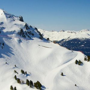 view across snow covered french alps