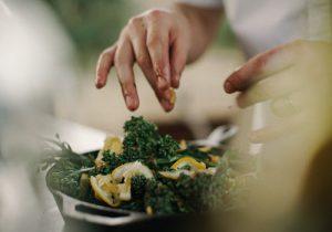 fingers preparing food