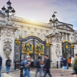 view of the black metal gate outside buckingham palace