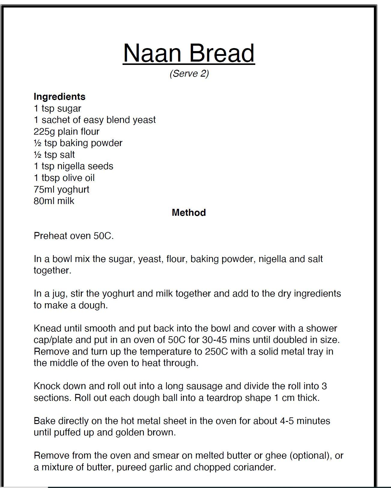 nan bread recipe written in black on white background